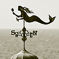 Mermaid Weathervane In Sepia by Ben and Raisa Gertsberg