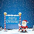 Merry Christmas Sign Santa Claus Winter Landscape by Frank Ramspott