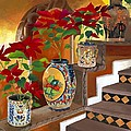 Mexican Pottery On Staircase by Judy Swerlick