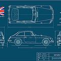 Mgb Gt Blueplanprint by Douglas Switzer