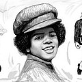 Michael Jackson art long drawing sketch poster Print by Kim Wang