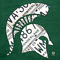 Michigan State Spartans Sports Retro Logo License Plate Fan Art by Design Turnpike