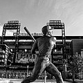 Mike Schmidt Statue In Black And White by Bill Cannon
