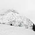 Minimalist Snow Landscape - Mountain And Trees In Winter by Matthias Hauser