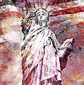 Modern Art Statue Of Liberty Red by Melanie Viola