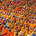 Monk Mass Alms Giving In Bangkok by Fototrav Print