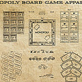 Monopoly Board Game Aged Patent Art  1935 by Daniel Hagerman