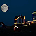 Moon Over Cape Neddick by Guy Whiteley