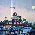 Moon Over Coronado Boathouse by Mary Helmreich