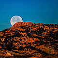 Moon Setting Behind Horsetooth Rock At Sunrise by Harry Strharsky