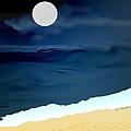 Moonlight Walk At Low Tide by Kae Cheatham