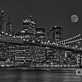 Moonrise Over The Brooklyn Bridge Bw by Susan Candelario