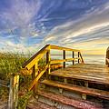 Morning Beach Walk Print by Debra and Dave Vanderlaan