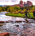 Mountain Bikers Crossing Cathedral Falls by Linda Pulvermacher