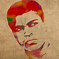 Muhammad Ali Watercolor Portrait On Worn Distressed Canvas by Design Turnpike