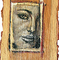 Mysterious Girl Face Portrait - Painting On The Wood by Nenad Cerovic