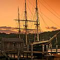 Mystic Seaport Sunset-joseph Conrad Tallship 1882 by Thomas Schoeller