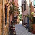 Narrow Street In Old City Of Chania Crete Greece