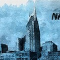 Nashville Tennessee In Blue Print by Dan Sproul