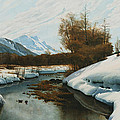 Near La Punt St Morritz In The Engadine Valley by Peder Monsted