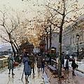 Near The Louvre Paris by Eugene Galien-Laloue