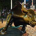 New York City Wall Street Charging Bull Print by Songquan Deng