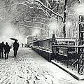 New York City - Winter - Snow At Night by Vivienne Gucwa