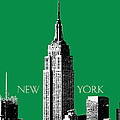 New York Skyline Empire State Building - Forest Green by DB Artist