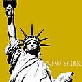 New York Skyline Statue of Liberty - Gold Print by DB Artist