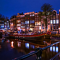 Night Lights On The Amsterdam Canals. Holland by Jenny Rainbow