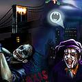 Nolan Batman VS Burton Batman Print by Vinny John Usuriello