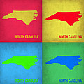 North Carolina Pop Art Map 1 by Naxart Studio