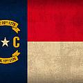 North Carolina State Flag Art On Worn Canvas by Design Turnpike