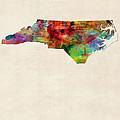 North Carolina Watercolor Map by Michael Tompsett