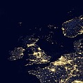 North Sea At Night, Satellite Image by Science Photo Library