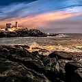 Nubble Lighthouse Winter Solstice Sunset by Bob Orsillo