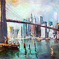 NY City Brooklyn Bridge II Print by Ylli Haruni