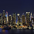 Nyc Skyline Full Moon Panorama by Susan Candelario