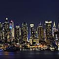 NYC Skyline Full Moon Panorama Print by Susan Candelario