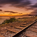 Oahu Rail Road Track Sunset by Tin Lung Chao
