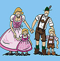 Oktoberfest Family Dirndl And Lederhosen by Frank Ramspott