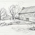 Old barn sketch Print by Peut Etre