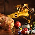 Old Baseball And Glove With Antique Toys by Sandra Cunningham