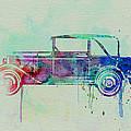 Old car watercolor Print by Naxart Studio