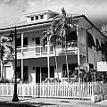 Old Historic Wooden Two Storey Building With White Picket Fence Key West Florida Usa by Joe Fox