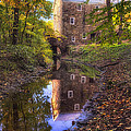 Old Mill Reflected In A Creek by George Oze