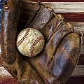 Old mitt and baseball Print by Garry Gay