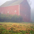 Old Red Barn In Fog by Edward Fielding