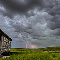 Old School House And Lightning by Mark Duffy