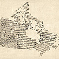 Old Sheet Music Map Of Canada Map by Michael Tompsett